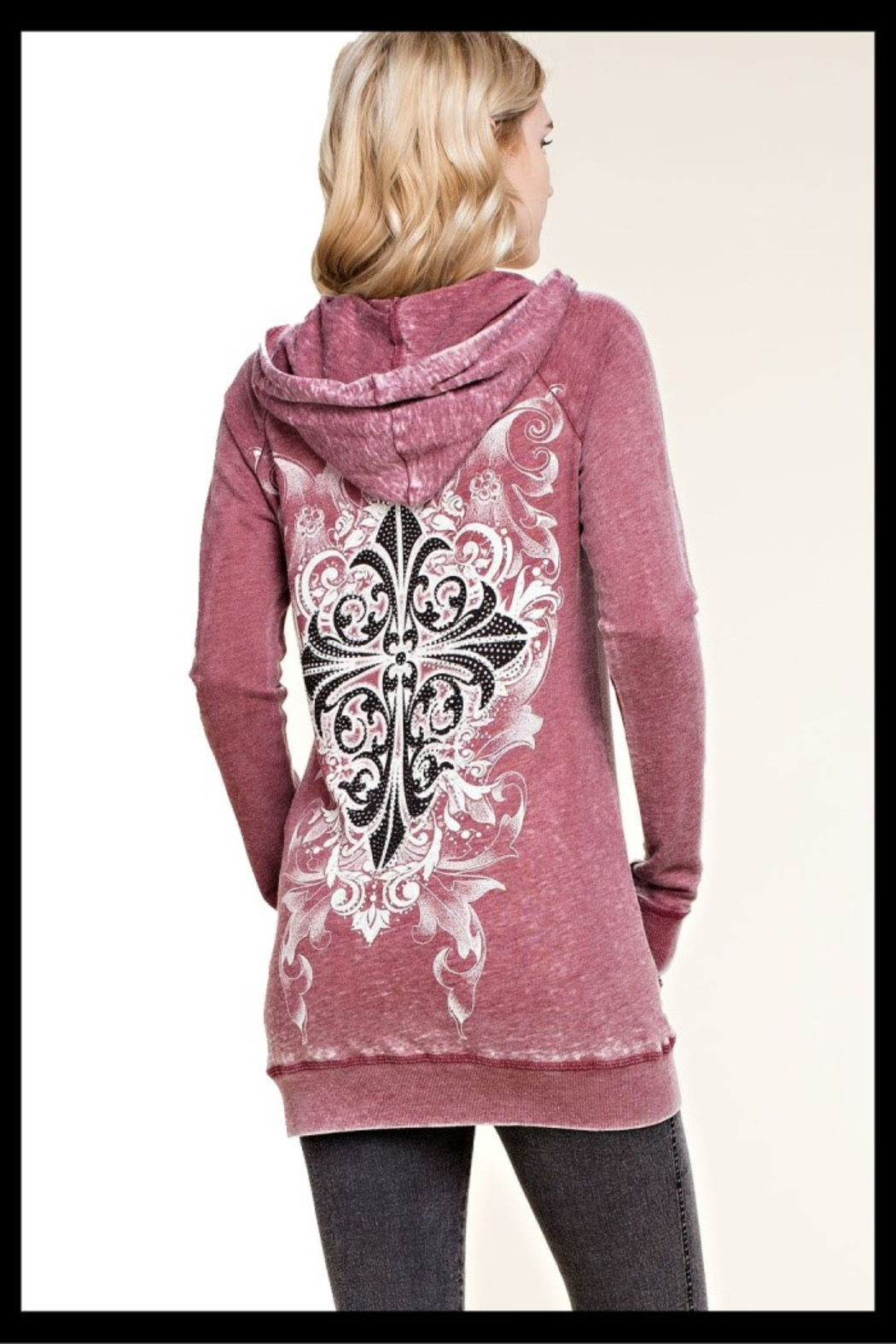 Vocal soft knit hoodie with tie dyed with print and stone detail - Front Full Image