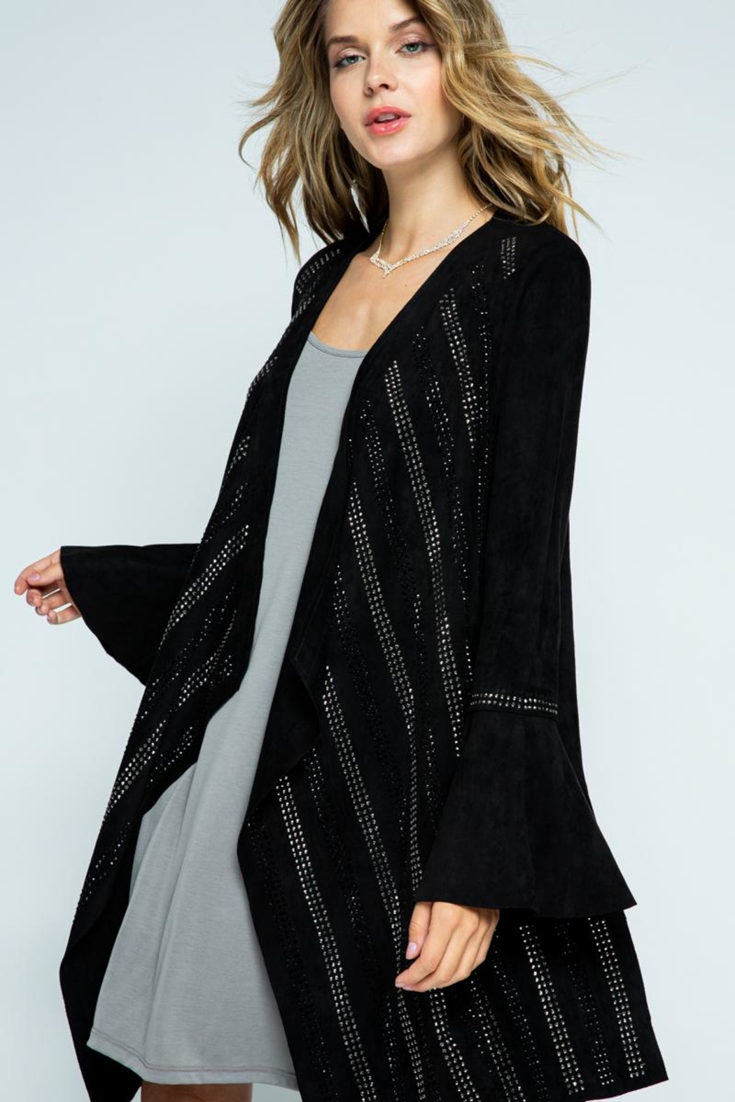Vocal Apparel Bell Sleeve Jacket With Stones - Side Cropped Image