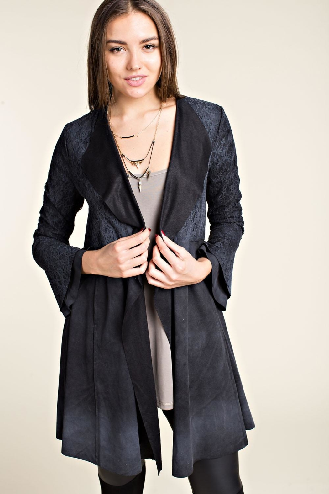Vocal Apparel Brushed Suede Jacket - Back Cropped Image