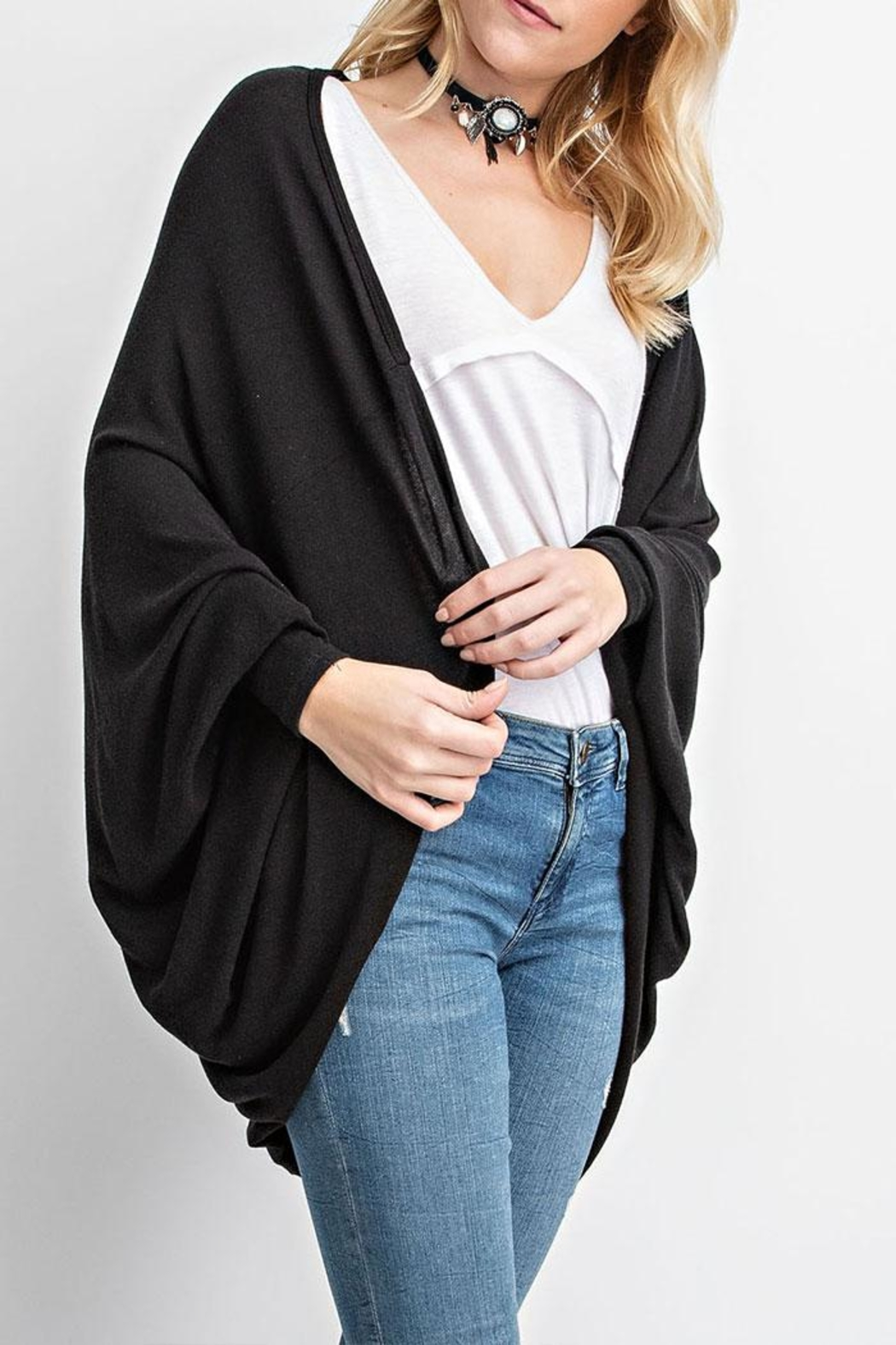 Vocal Apparel Cocoon Cardigan Eagle-Stones - Side Cropped Image