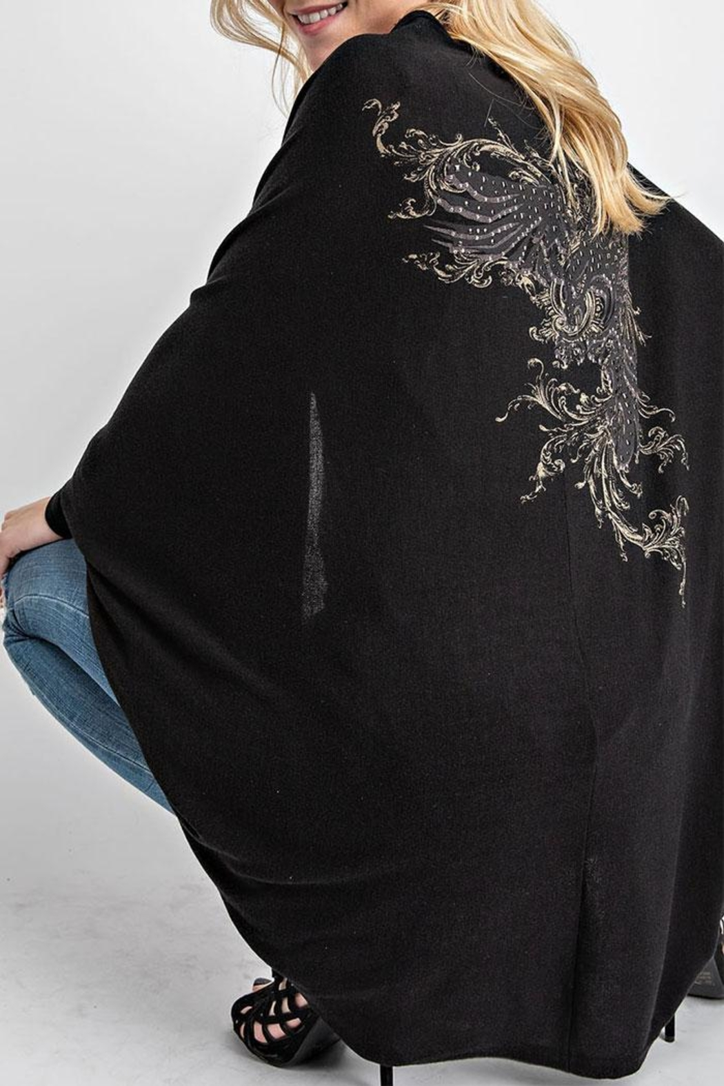 Vocal Apparel Cocoon Cardigan Eagle-Stones - Back Cropped Image