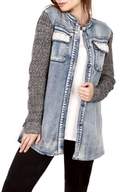 Vocal Apparel Denim-Knit Combo Jacket - Product Mini Image