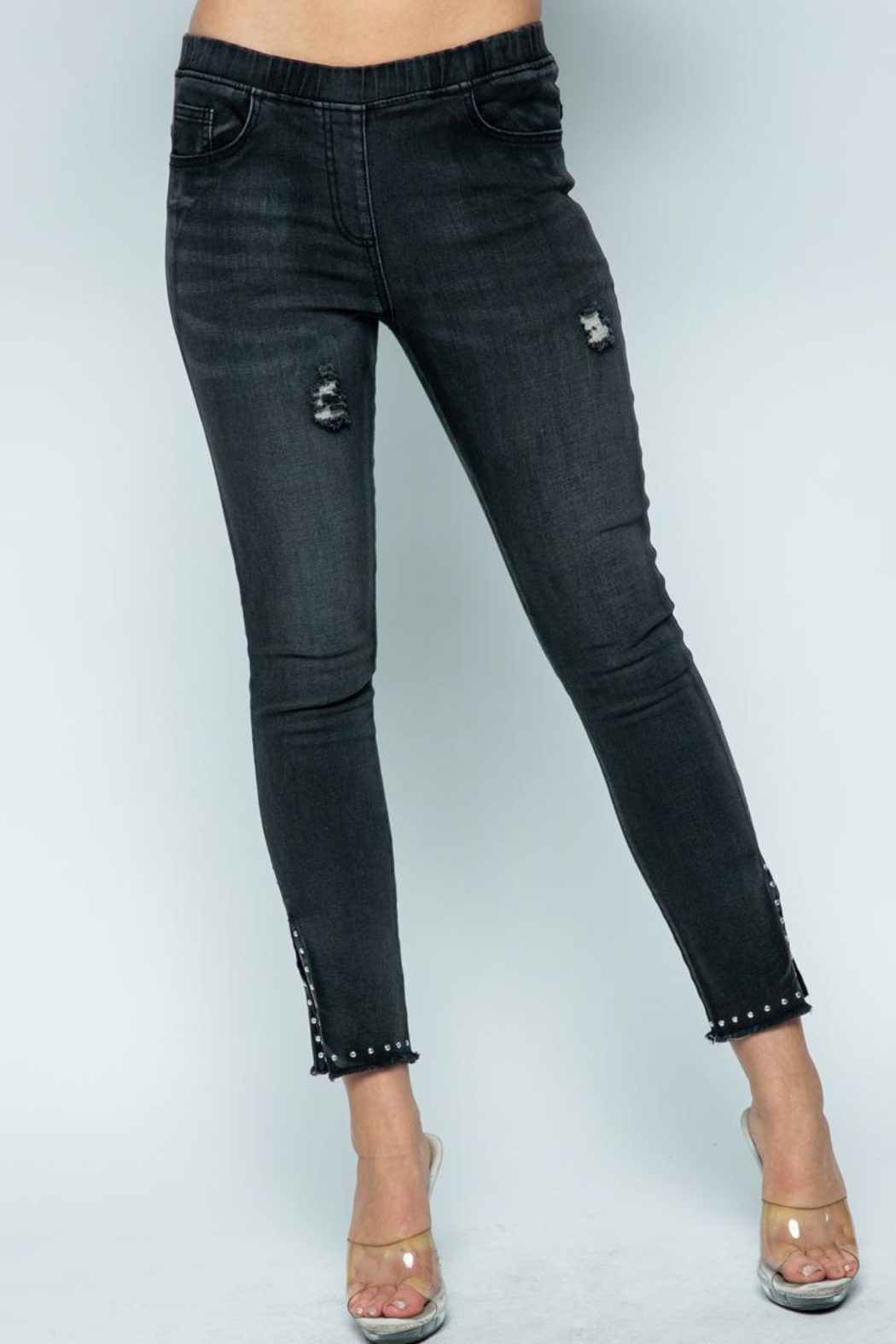Vocal Apparel Denim With Slits And Studs - Main Image