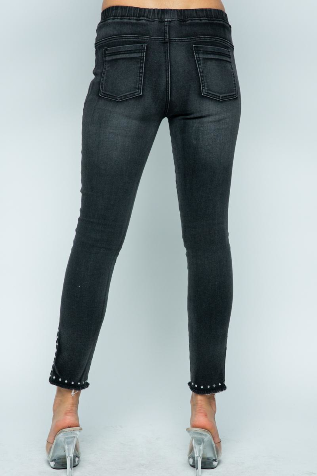 Vocal Apparel Denim With Slits And Studs - Front Full Image