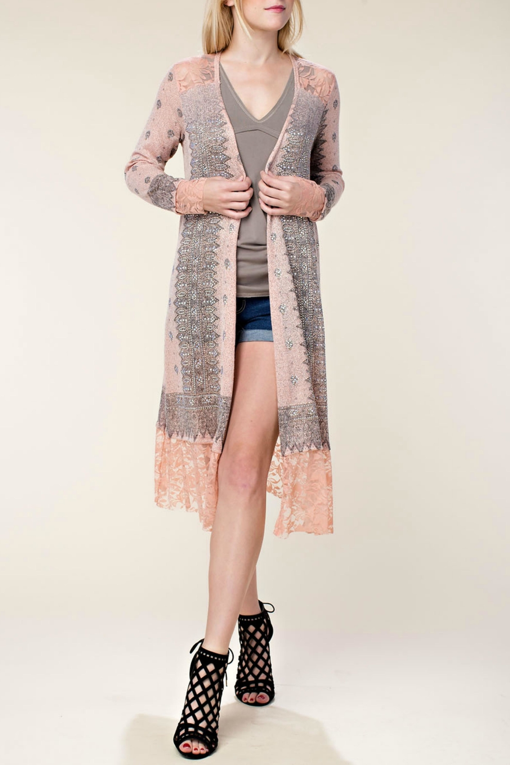 Vocal Apparel Embellished Lace Duster - Main Image