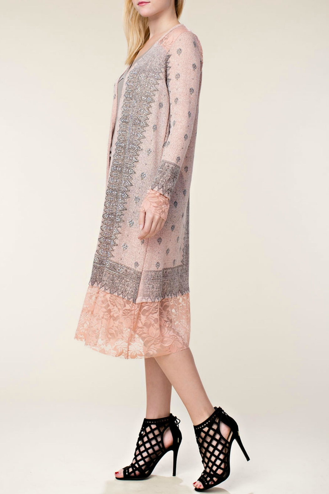 Vocal Apparel Embellished Lace Duster - Front Full Image