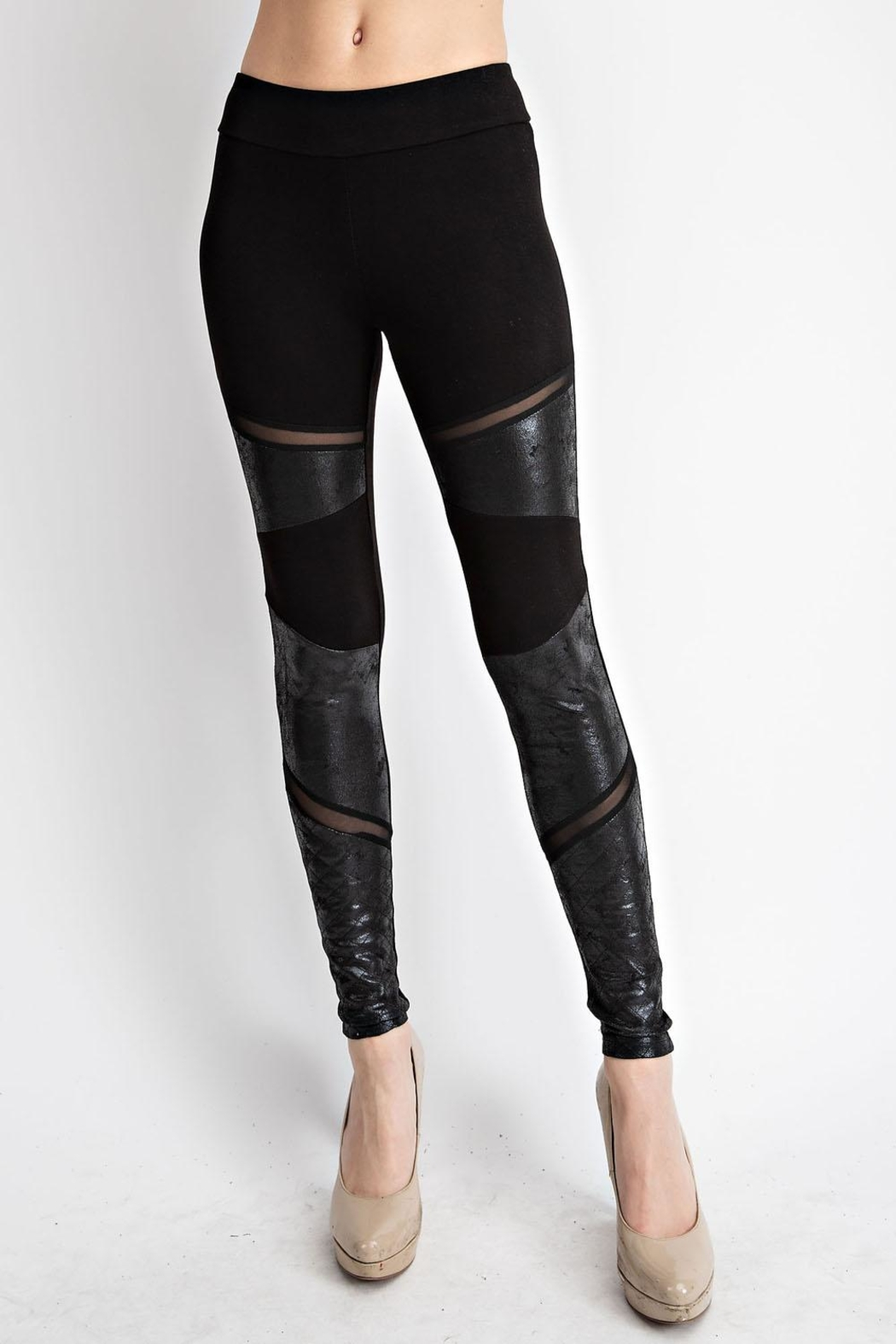 Vocal Apparel Faux Leather Inlet Leggings - Main Image