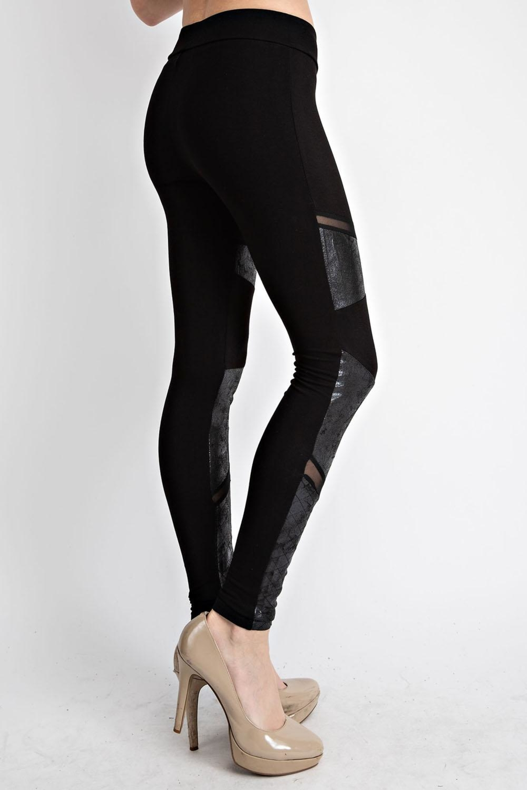 Vocal Apparel Faux Leather Inlet Leggings - Side Cropped Image