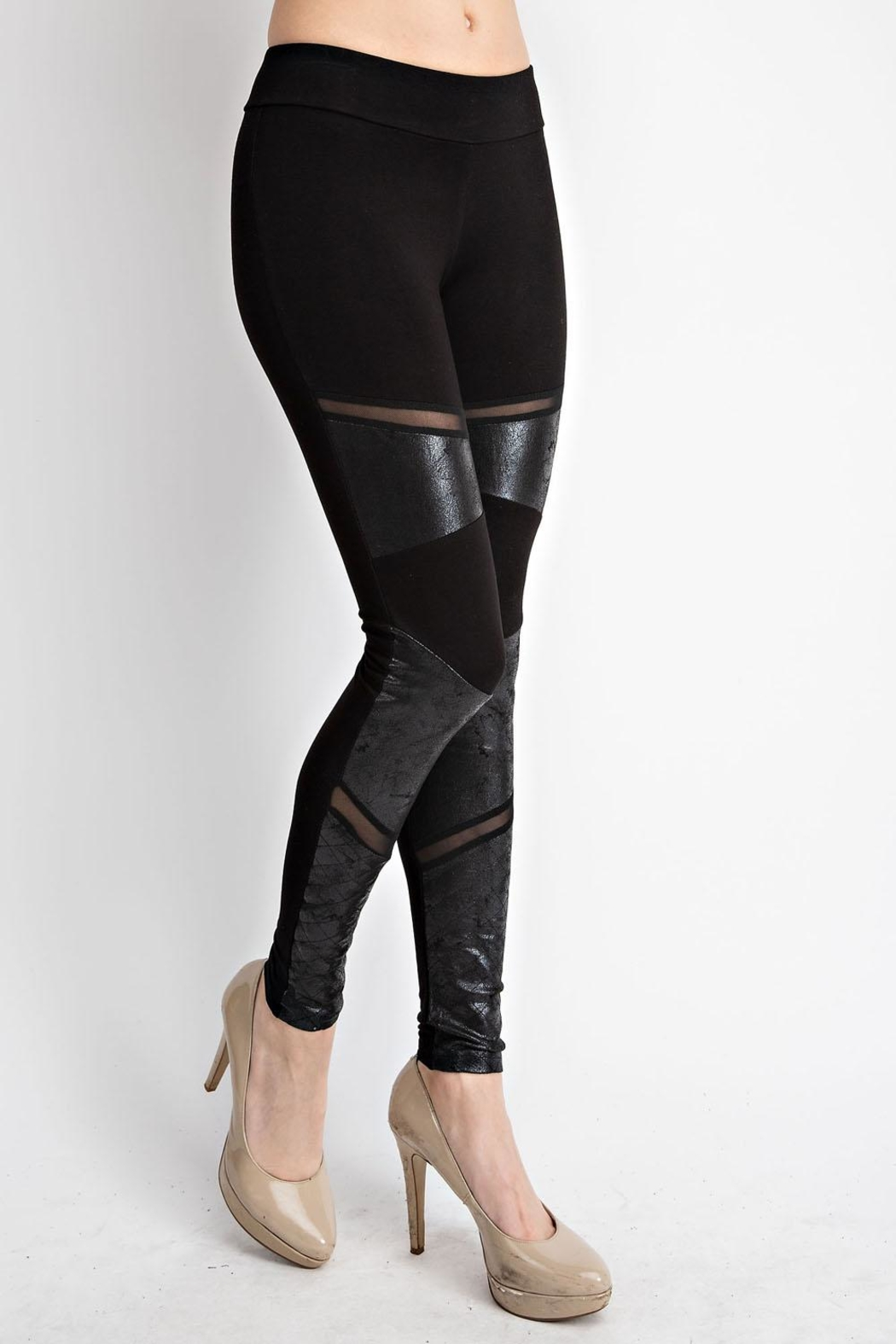 Vocal Apparel Faux Leather Inlet Leggings - Front Full Image