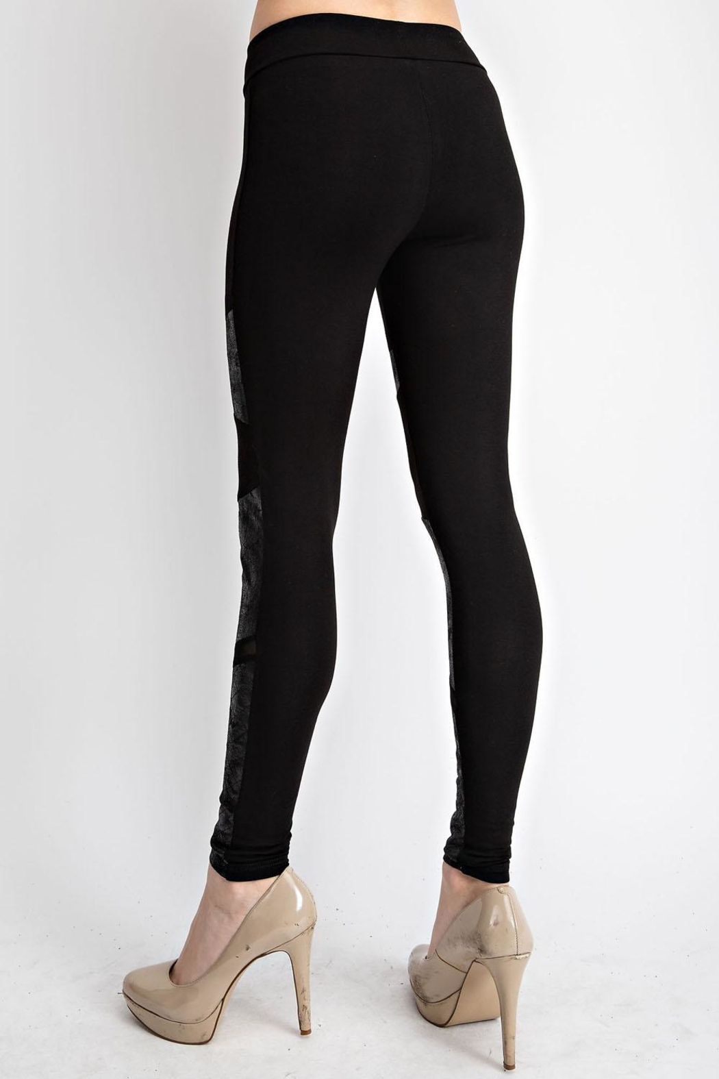 Vocal Apparel Faux Leather Inlet Leggings - Back Cropped Image