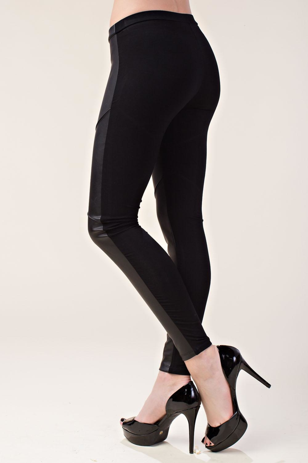 Vocal Apparel Faux Leather Leggings - Side Cropped Image