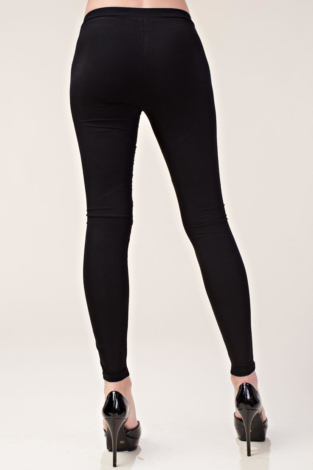 Vocal Apparel Faux Leather Leggings - Back Cropped Image