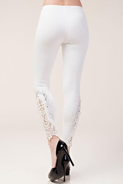 Vocal Apparel Knit Leggings Lace Patch And Stones - Alternate List Image