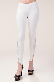 Vocal Apparel Knit Leggings Lace Patch And Stones - Product Mini Image