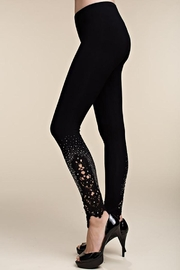 Vocal Apparel Knit Leggings Lace Patch And Stones - Front cropped