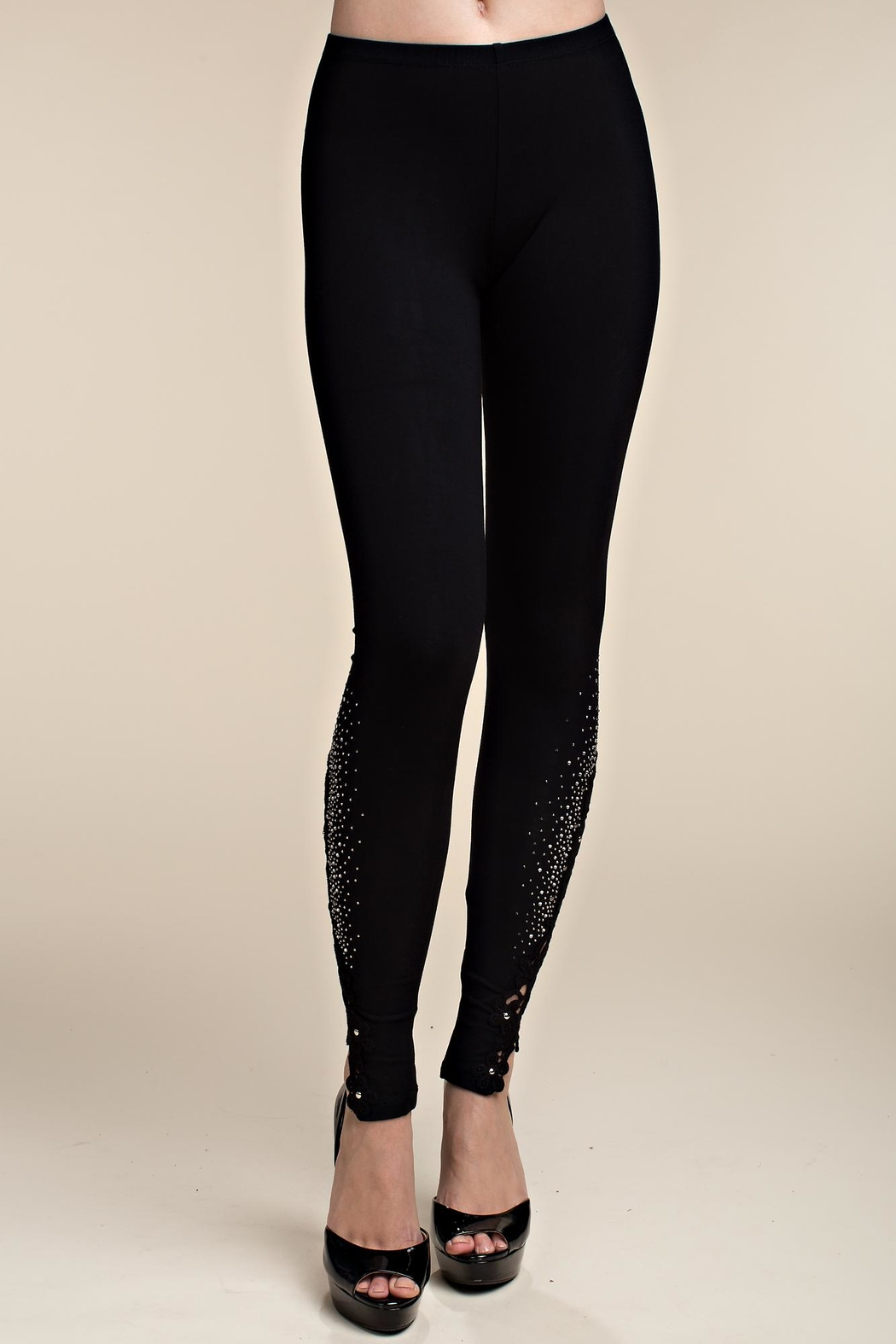 Vocal Apparel Knit Leggings Lace Patch And Stones - Side Cropped Image