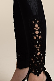Vocal Apparel Knit Leggings With Feathers And Stones - Side cropped