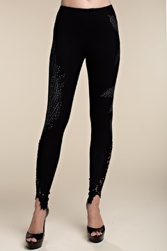 Shoptiques Product: Knit Leggings With Feathers And Stones