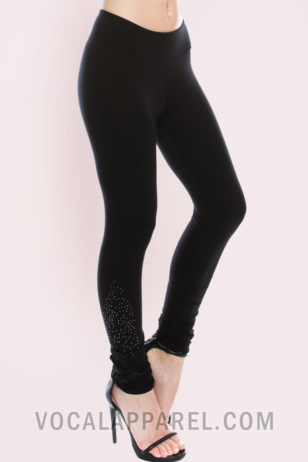 Vocal Apparel Knit Leggings With Stones - Side Cropped Image