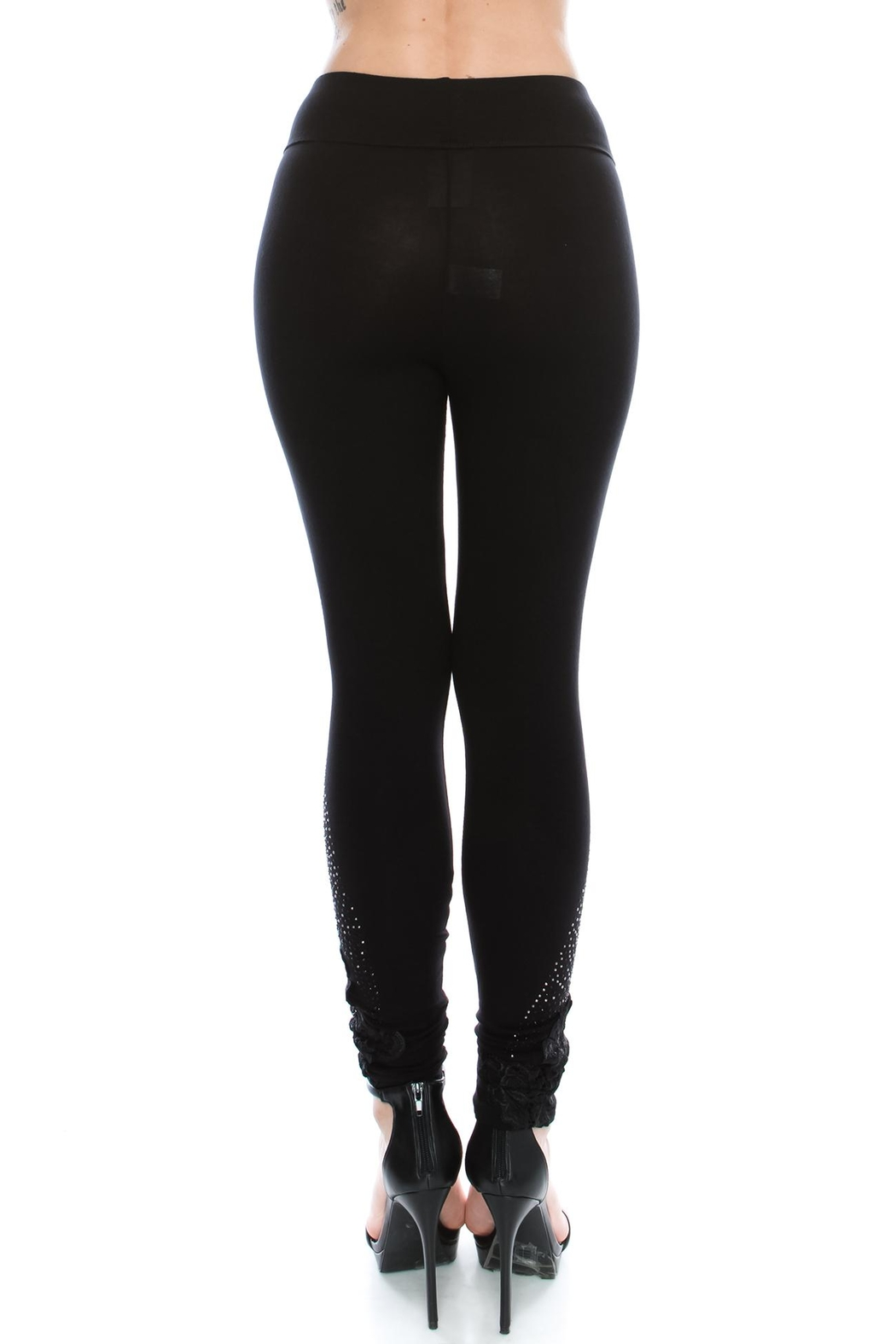 Vocal Apparel Knit Leggings With Stones - Front Full Image