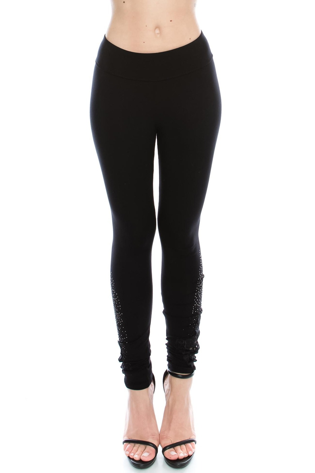 Vocal Apparel Knit Leggings With Stones - Main Image