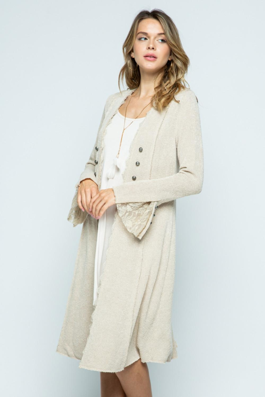Vocal Apparel Knit Long Jacket - Side Cropped Image