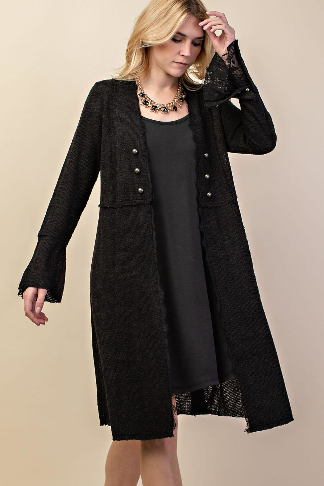 Vocal Apparel Knit Long Jacket - Front Cropped Image