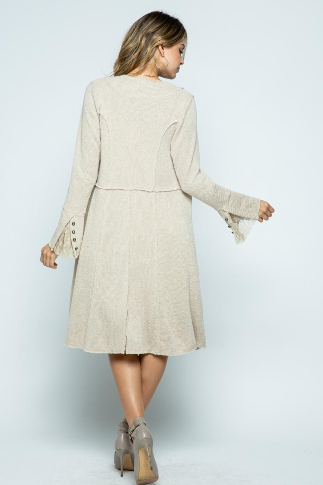 Vocal Apparel Knit Long Jacket With Buttons - Back Cropped Image
