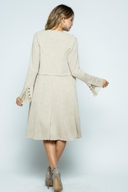 Vocal Apparel Knit Long Jacket With Buttons - Back cropped