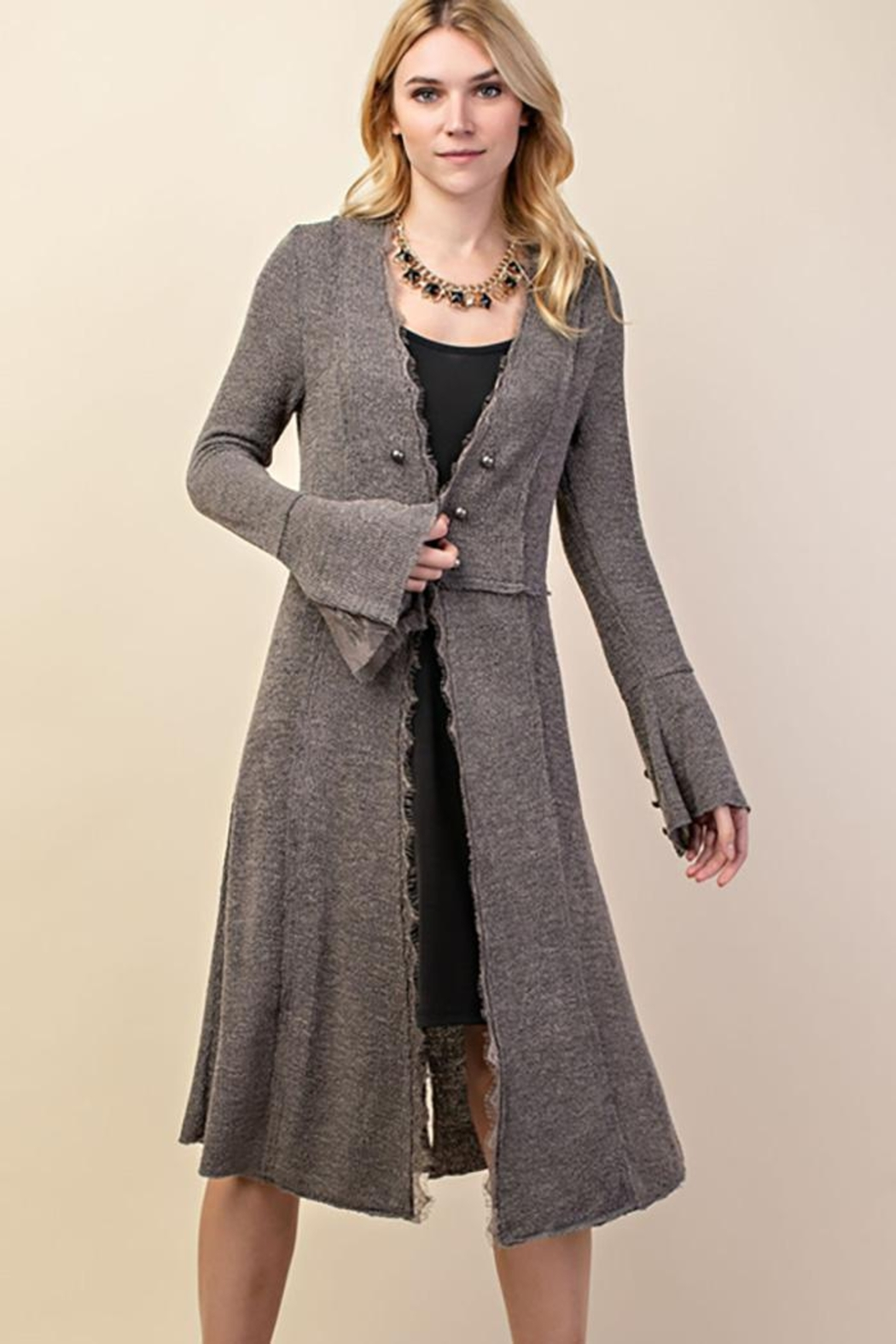 Vocal Apparel Knit Long Jacket With Buttons - Front Cropped Image