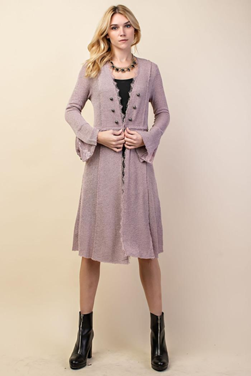 Vocal Apparel Knit Long Jacket With Buttons - Main Image