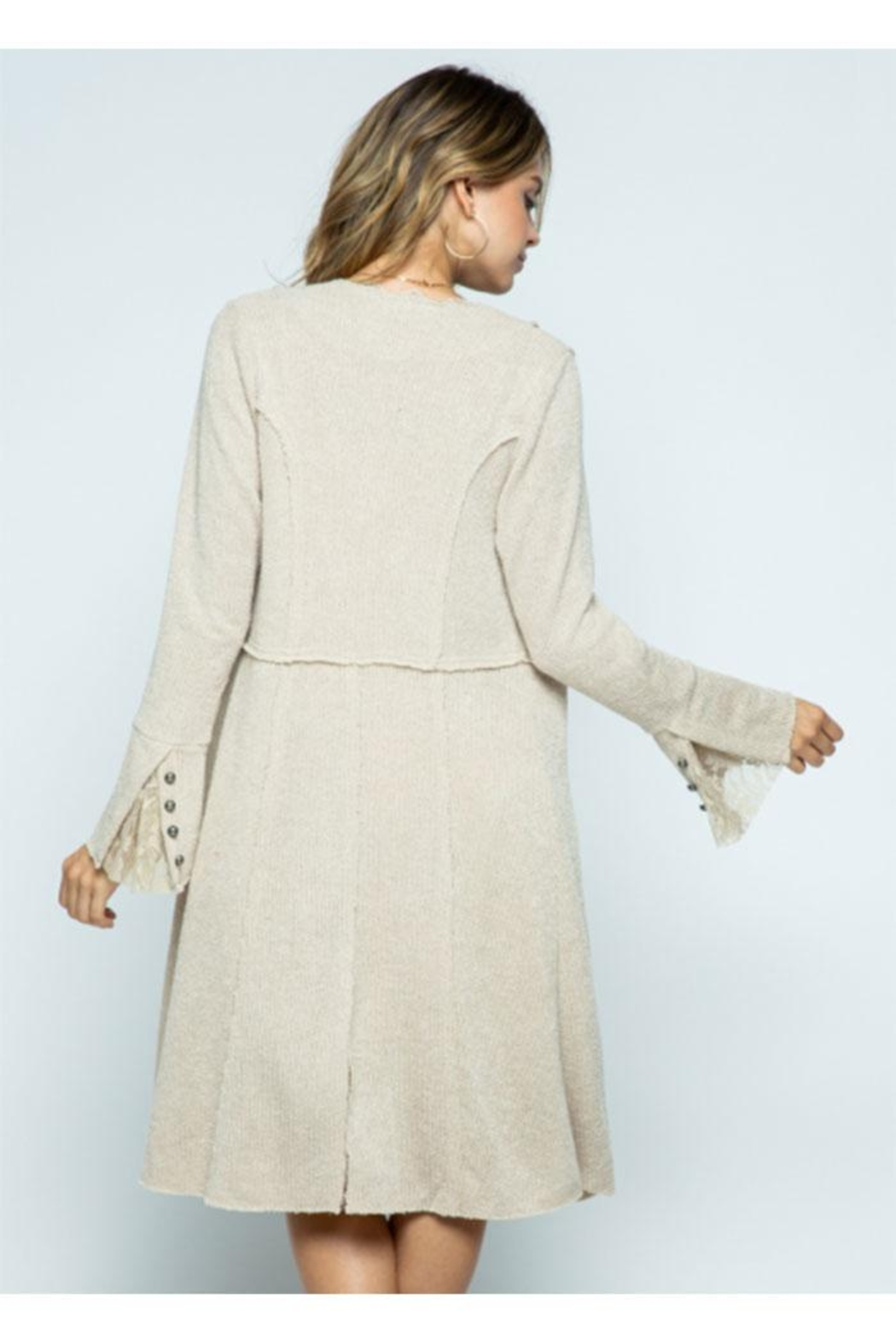 Vocal Apparel Knit Long Jacket With Buttons - Side Cropped Image