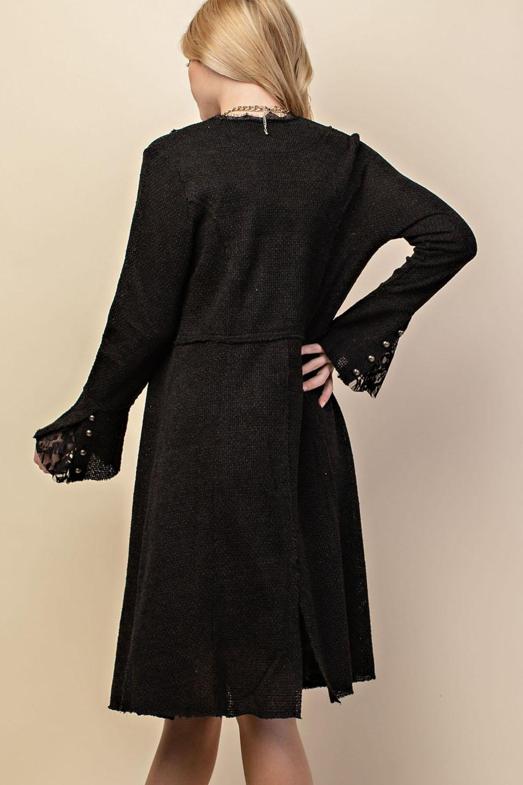 Vocal Apparel Knit Long Jacket With Buttons - Front Full Image