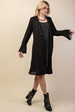 Vocal Apparel Knit Long Jacket With Buttons - Product List Image