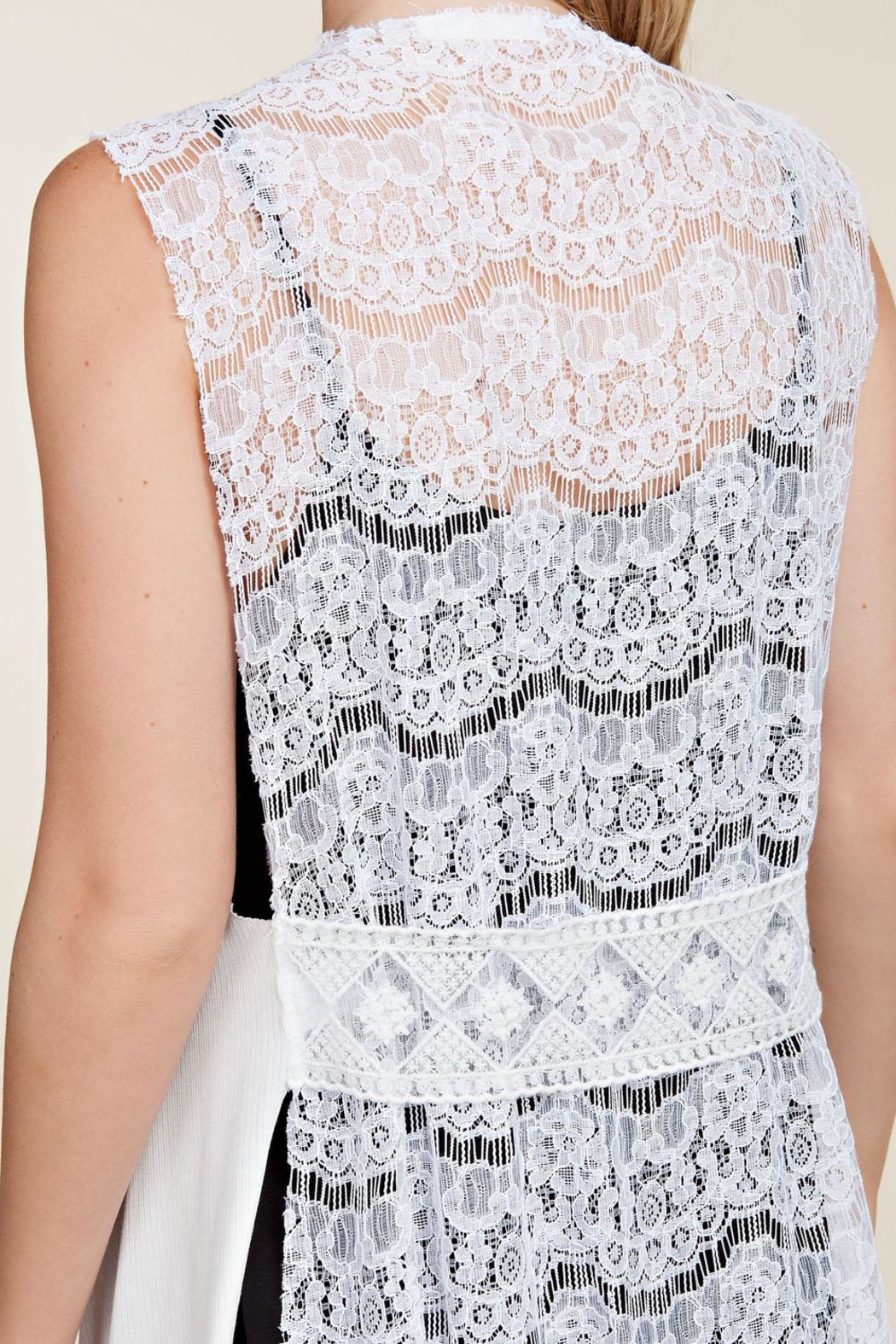 Vocal Apparel Lace Back Vest Wings & Stones - Front Full Image
