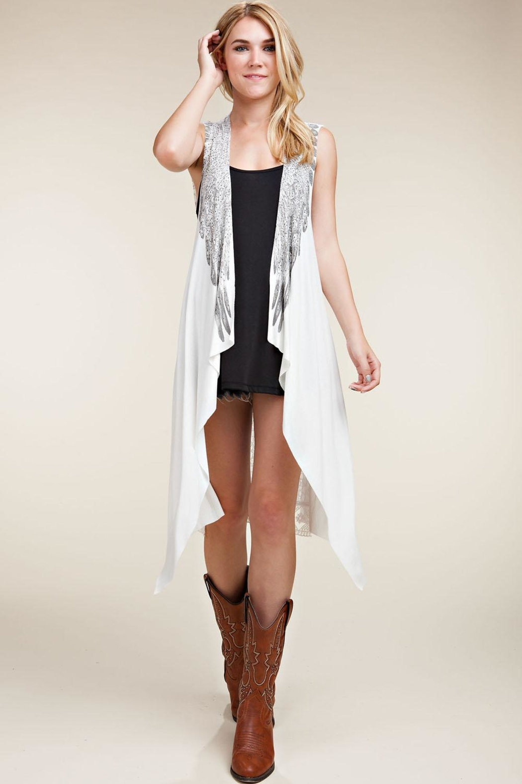 Vocal Apparel Lace Back Vest Wings & Stones - Back Cropped Image