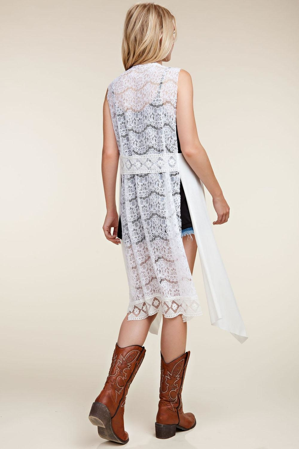 Vocal Apparel Lace Back Vest Wings & Stones - Side Cropped Image