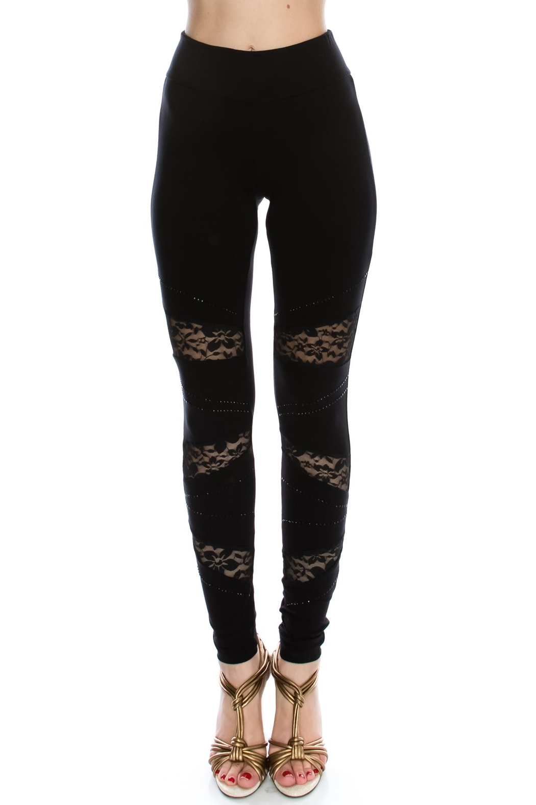 Vocal Apparel Lace Contrasted Leggings With Stones - Main Image