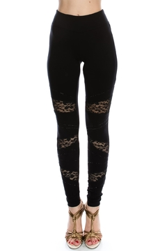 Vocal Apparel Lace Contrasted Leggings With Stones - Product List Image