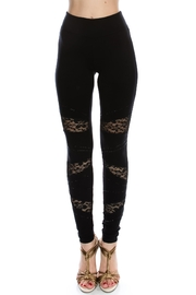 Vocal Apparel Lace Contrasted Leggings With Stones - Product Mini Image