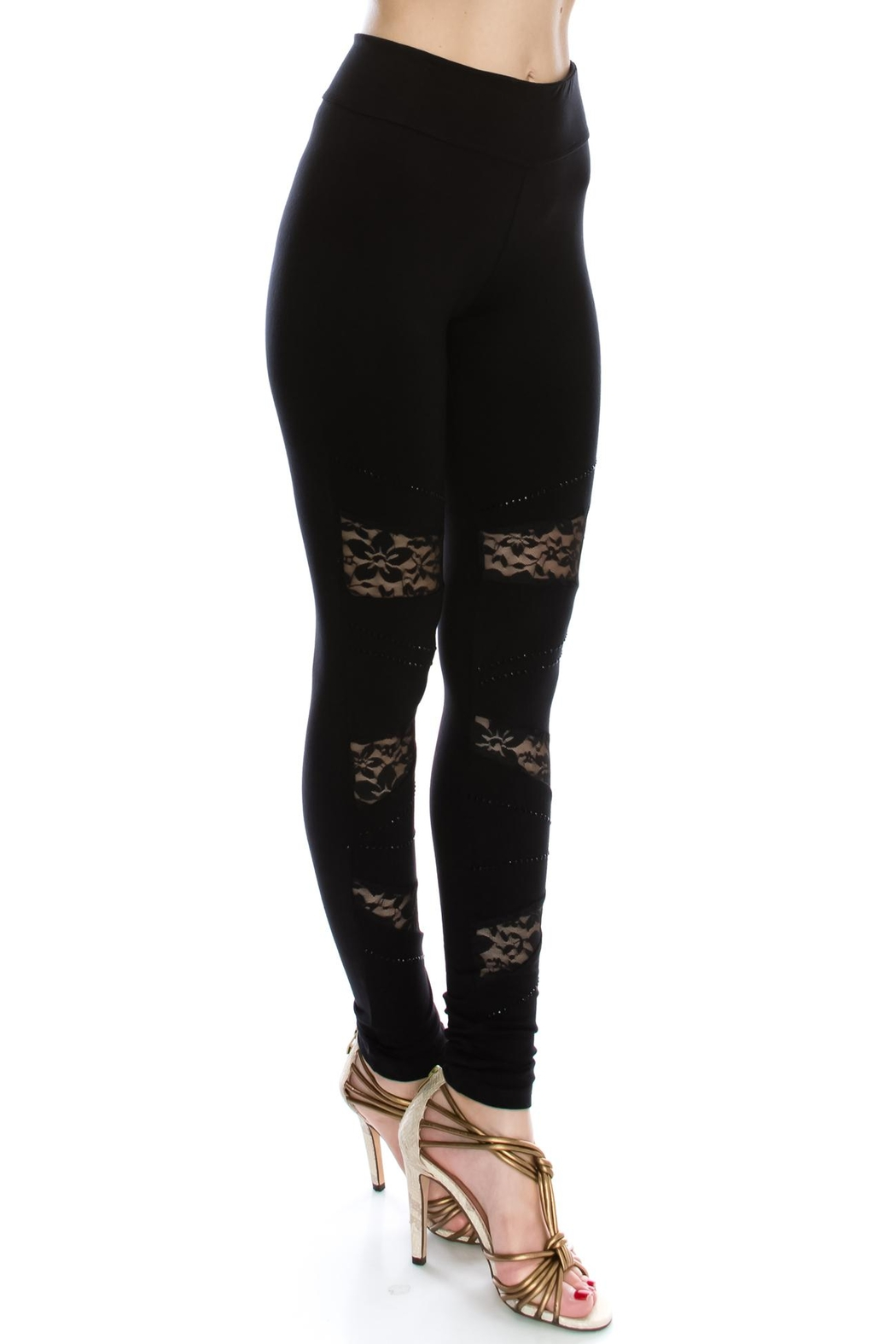 Vocal Apparel Lace Contrasted Leggings With Stones - Front Full Image