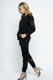 Vocal Apparel Lace Detail Jogger Pants - Side cropped