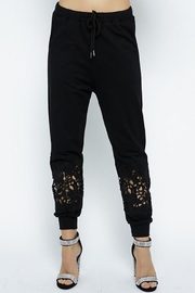 Vocal Apparel Lace Detail Jogger Pants - Product Mini Image
