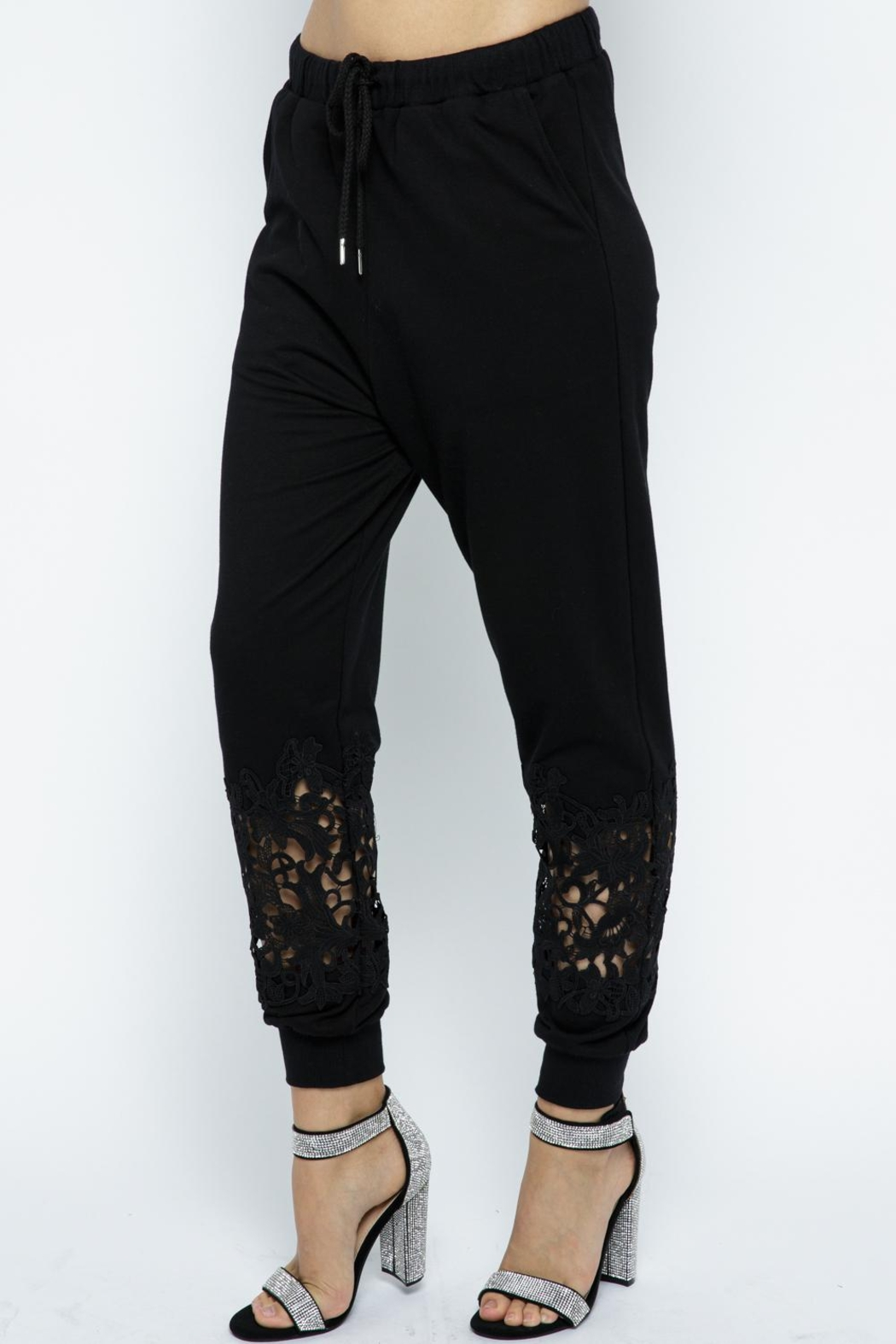 Vocal Apparel Lace Detail Jogger Pants - Front Full Image