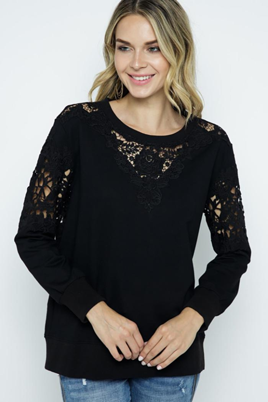 Vocal Apparel Lace Detail Sweatshirt Top - Front Cropped Image