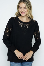 Vocal Apparel Lace Detail Sweatshirt Top - Product Mini Image