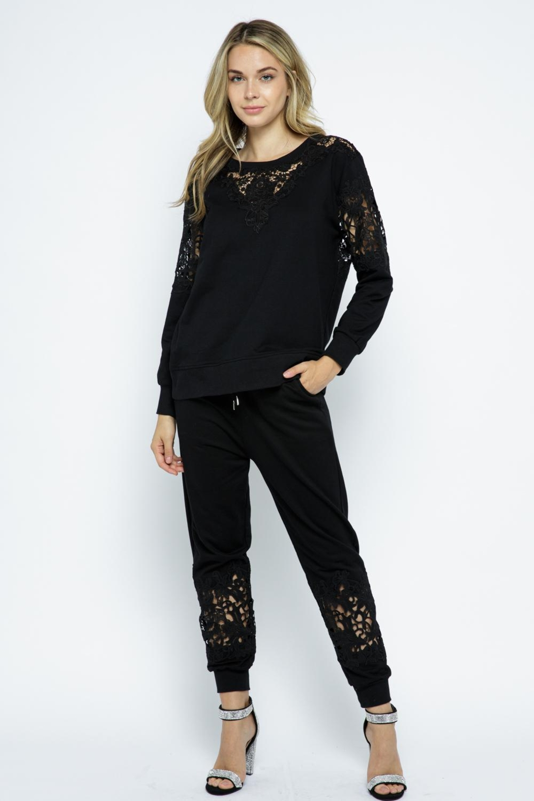 Vocal Apparel Lace Detail Sweatshirt Top - Front Full Image