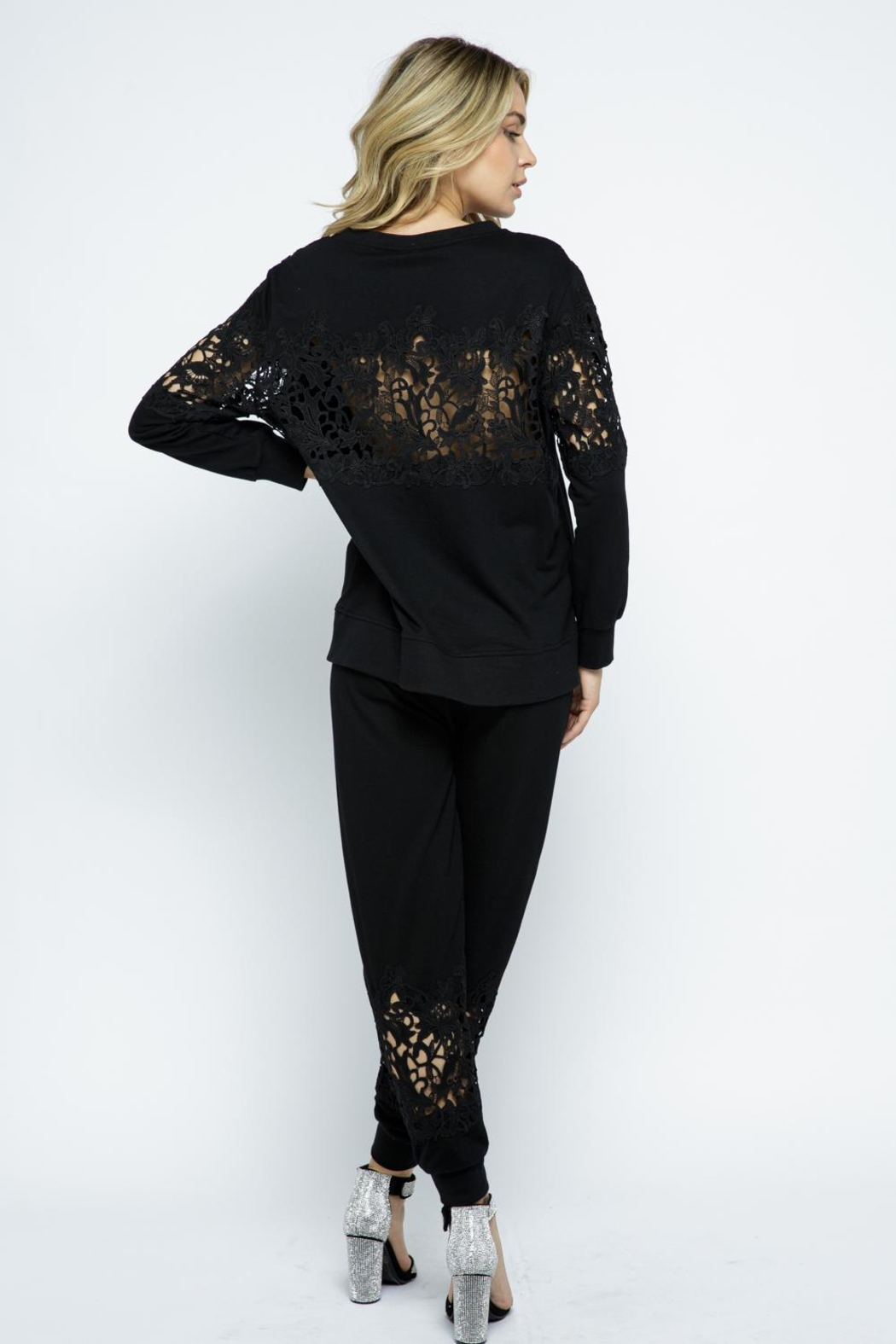 Vocal Apparel Lace Detail Sweatshirt Top - Back Cropped Image