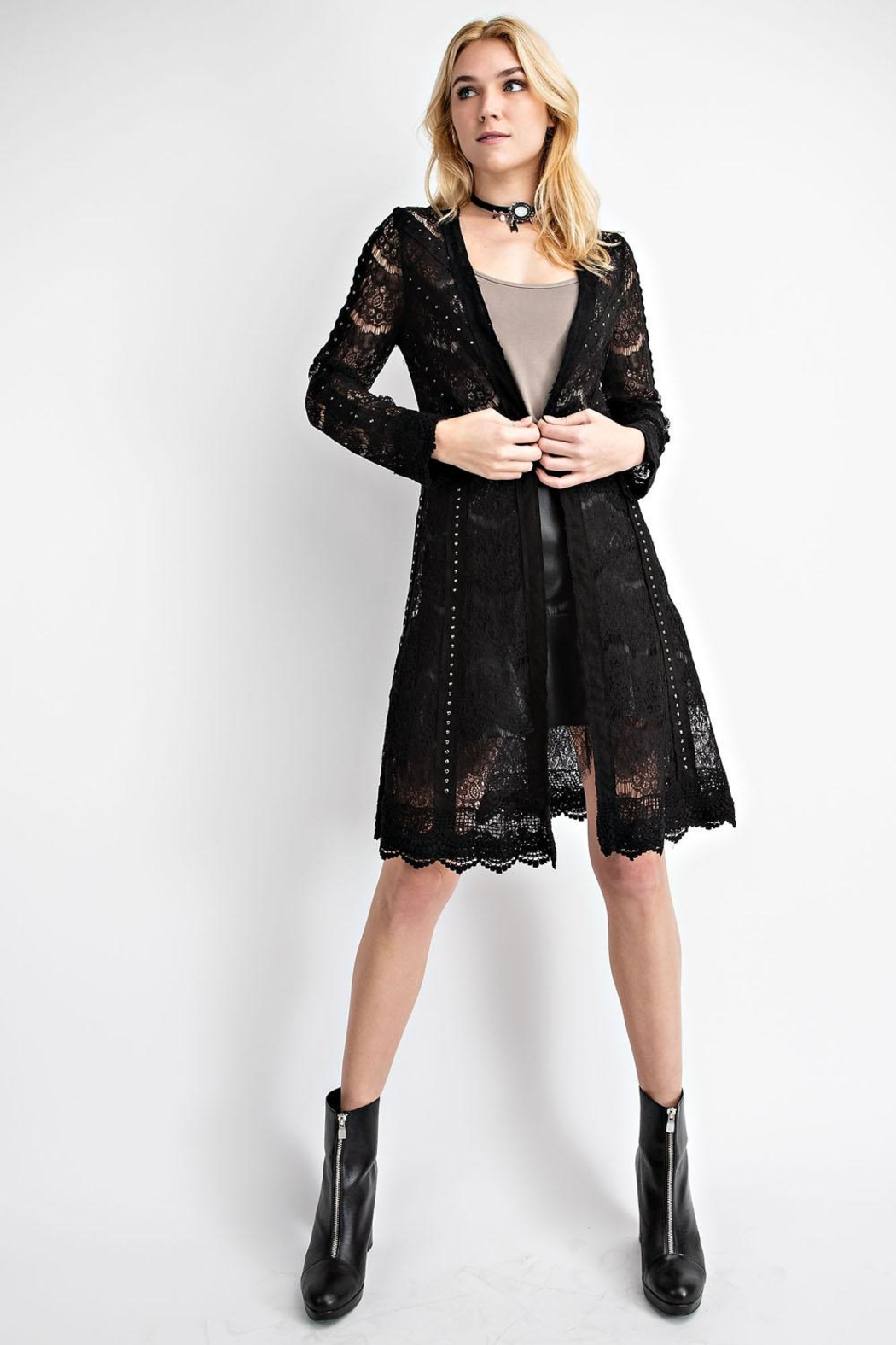 Vocal Apparel Lace Jacket With Studded Suede Details - Main Image