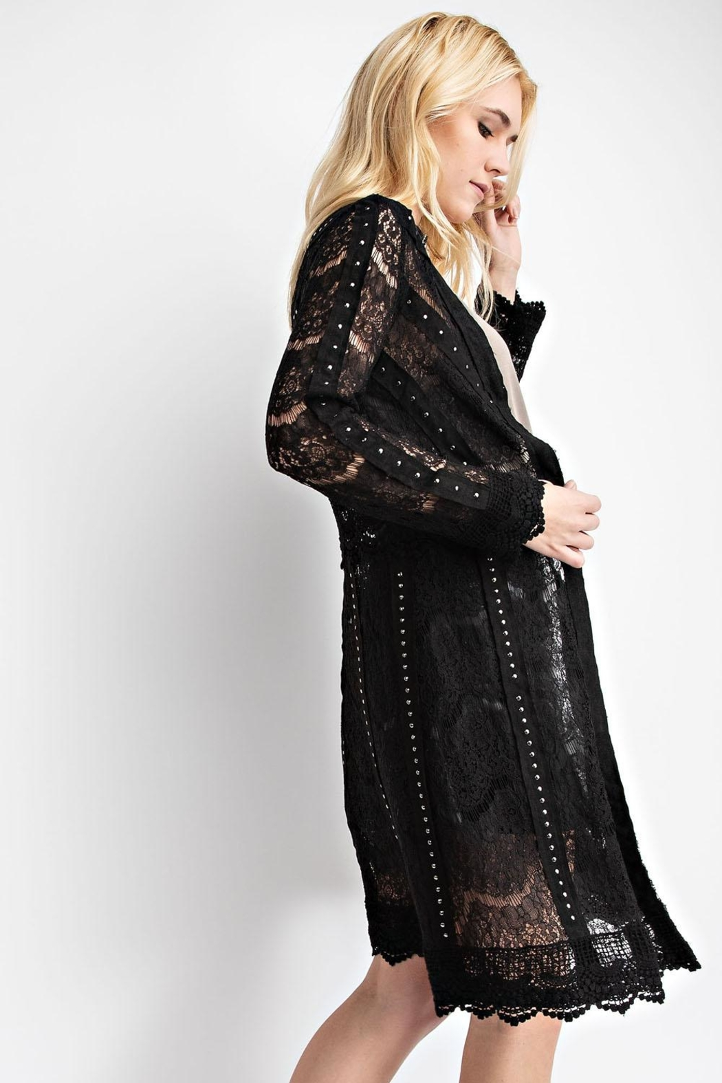 Vocal Apparel Lace Jacket With Studded Suede Details - Side Cropped Image